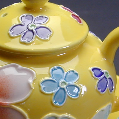 平安陶花園 花尽くし 醤油入れ 黄色